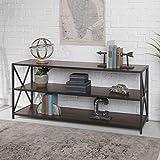 Walker Edison 2 Shelf Industrial Wood Metal...