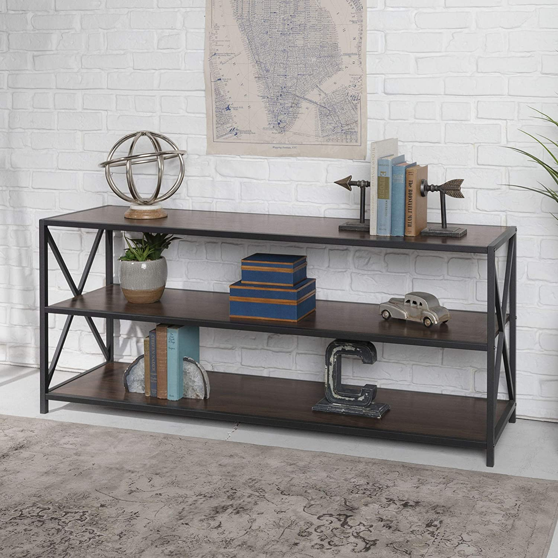 "WE Furniture AZS60XMWDW Console Table, 60"", Dark Walnut/Black Metal"