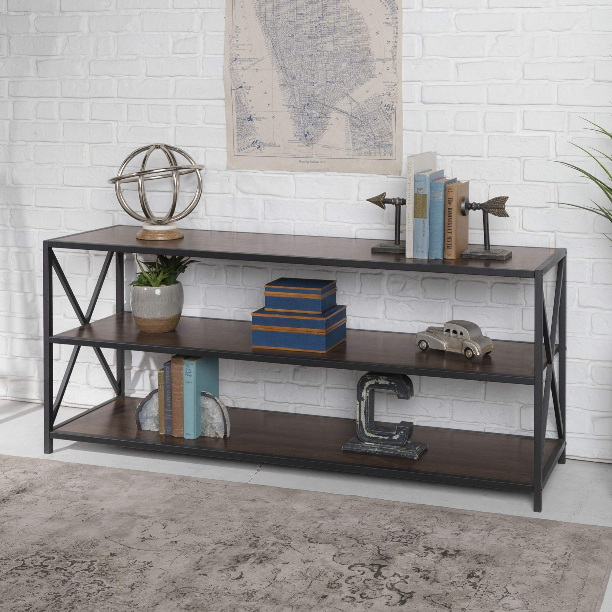 WE Furniture AZS60XMWDW 2 Shelf Industrial Wood Metal Bookcase Bookshelf Storage, 60 Inch, Walnut Brown by WE Furniture