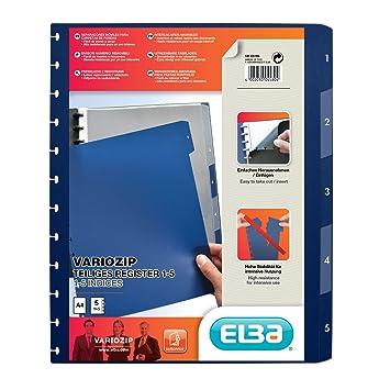 Elba 61464FL vario-zipp - Separadores para archivador con anillas (320 x 245 x 3 mm): Amazon.es: Oficina y papelería