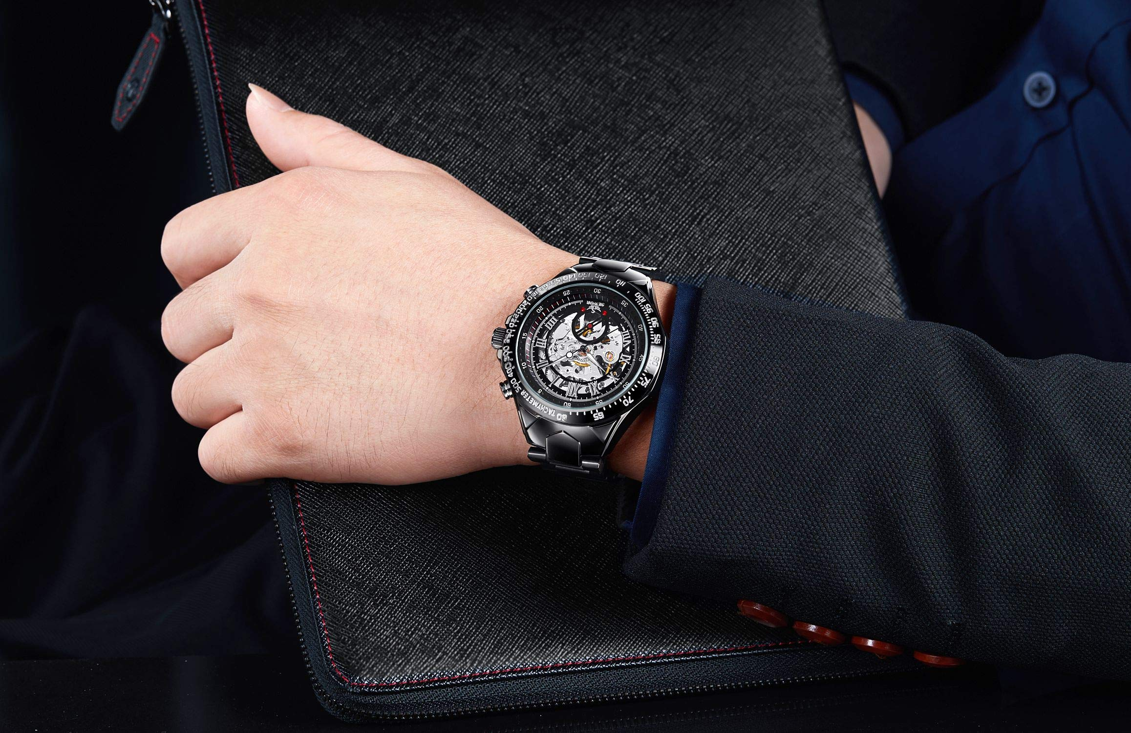 SEWOR Fashion Delicate Hollow Carving Mechanical Automatic Wrist Watch (Black)