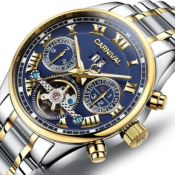 pasoy Carnaval Hombre Reloj automático mecánico tourbillon Stell Inoxidable Fecha Esfera Azul Reloj de Esqueleto