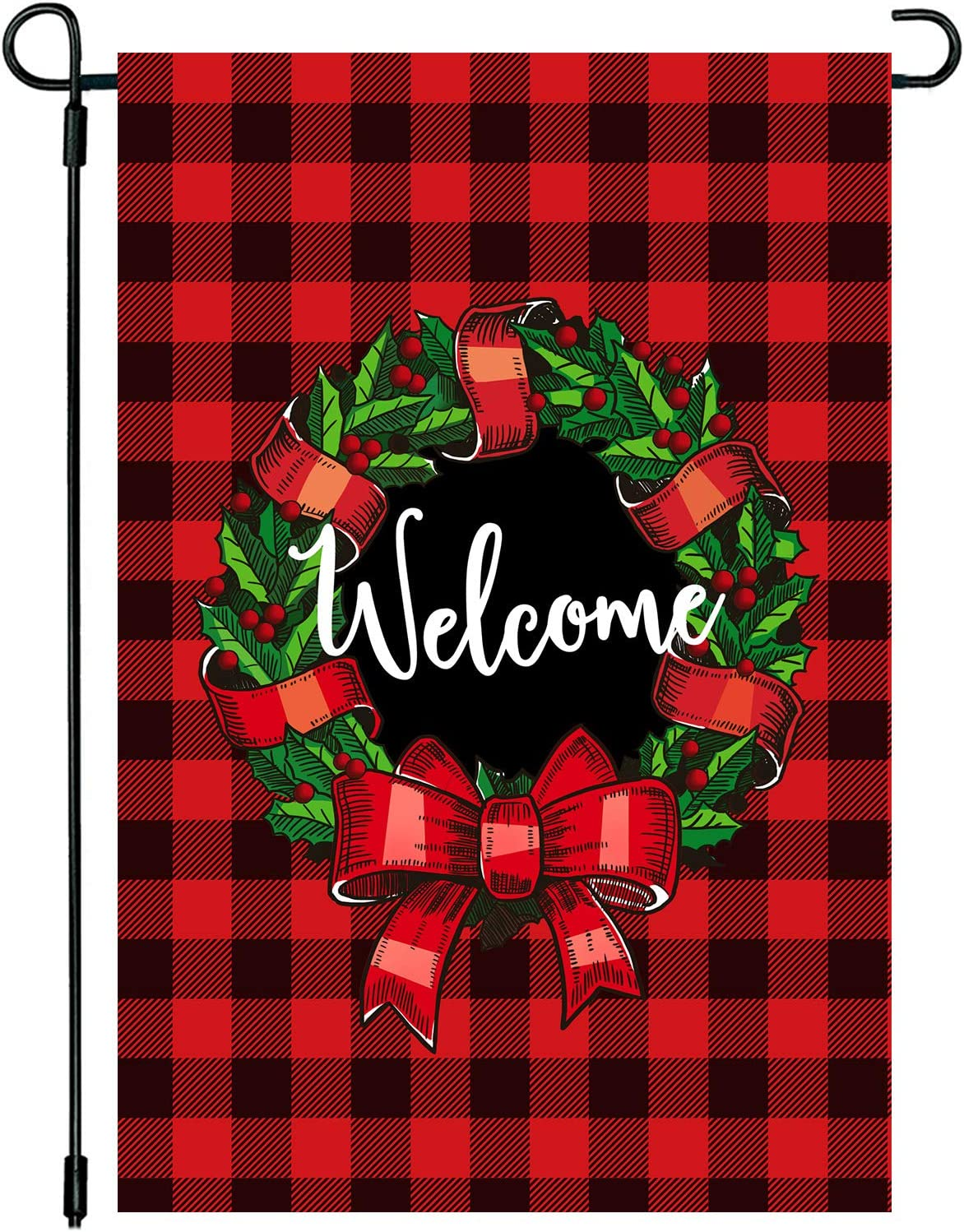 CAVLA Wreath Welcome Christmas Garden Flag 12 x 18 Inch Double Sided Buffalo Check Plaid Rustic Farmhouse Burlap Flag Christmas Winter Holiday Farmhouse Yard Outdoor Decoration