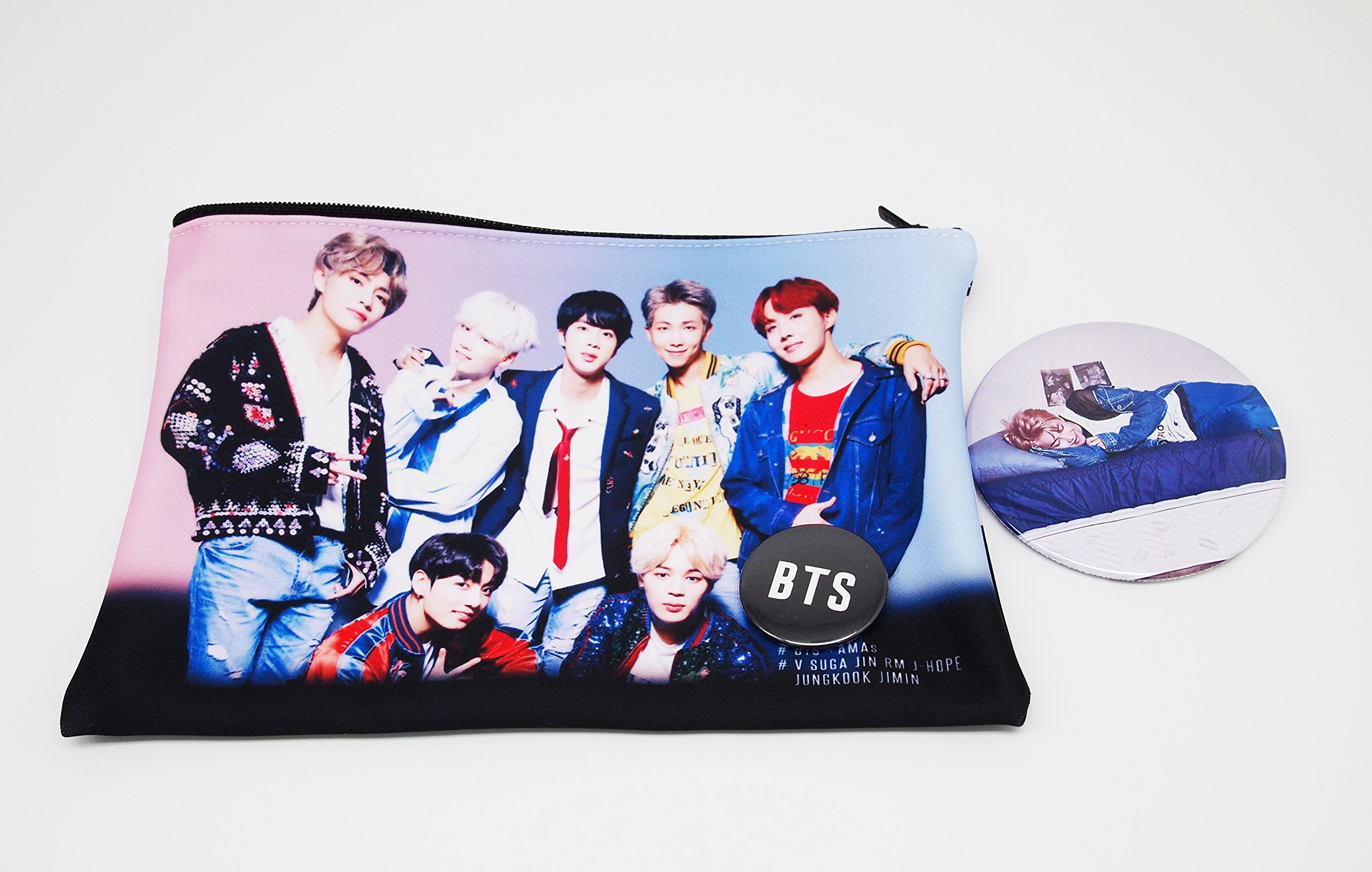 BTS Bangtan Boys - Pouch Pencil Case,Cosmetic Bags + BTS Rogo Pin Button + BTS Photo Pin Button (BTS Group1)