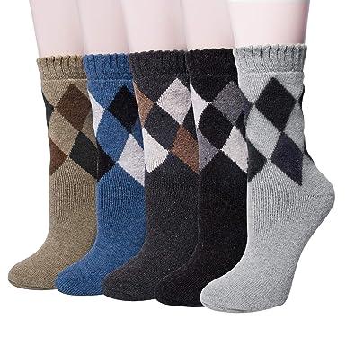 506b5de00a5 5paires Chaussettes Homme Hiver en Laine Chaude Épaisses Doux Unisexe  Classiques  Amazon.fr  Vêtements et accessoires