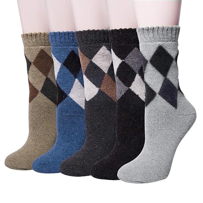 Calcetines casuales de lana de invierno para hombres con calientes de canalé grueso 5 pares: Amazon.es: Ropa y accesorios