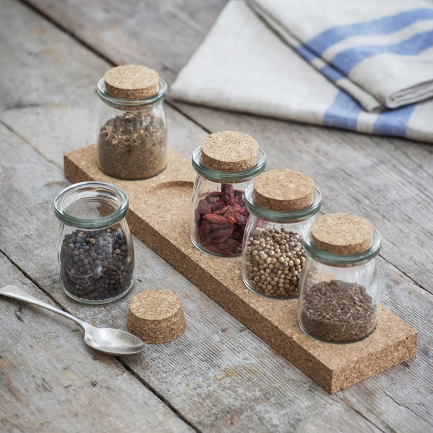 Set Of 5 Small Cork Spice Storage Jars With Rack