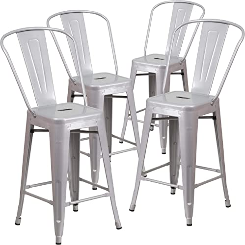 Flash Furniture Commercial Grade 4 Pack 24″ High Silver Metal Indoor-Outdoor Counter Height Stool
