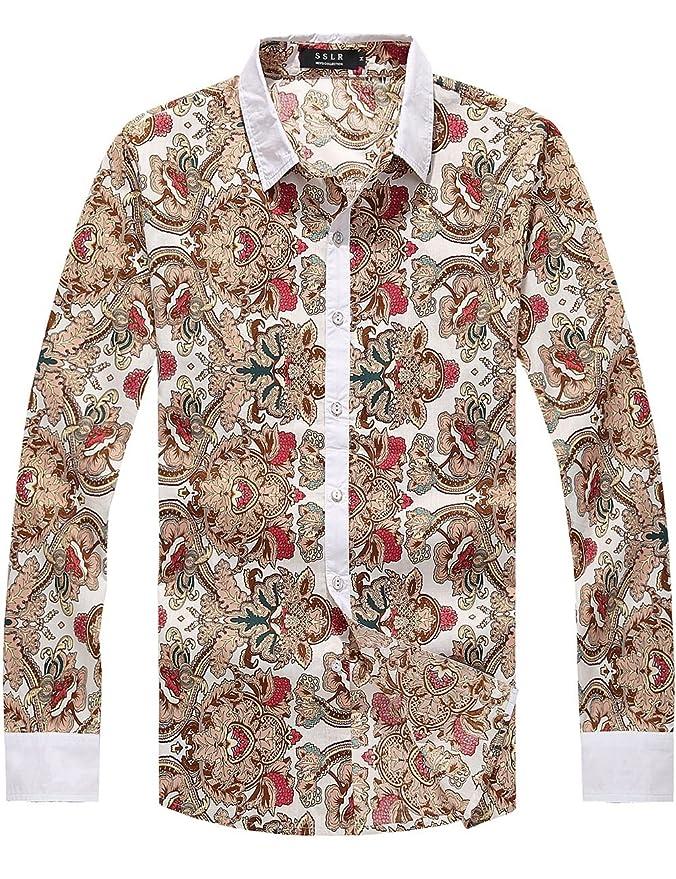 1960s Mens Shirts- Dress, Mod, T-Shirt, Turtleneck SSLR Mens Vintage Printed Long Sleeve Shirt $29.90 AT vintagedancer.com