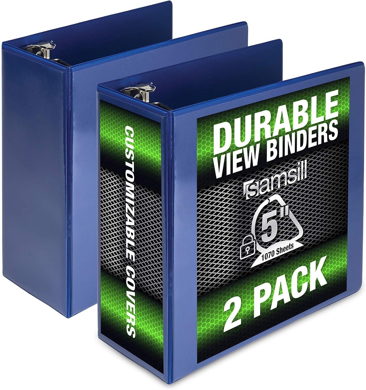 Samsill Durable 5 Inch Binder Black D-Ring Binder//Customizable Clear View Binder//Bulk Binder 2 Pack//Black 3 Ring Binder 5 inch Renewed