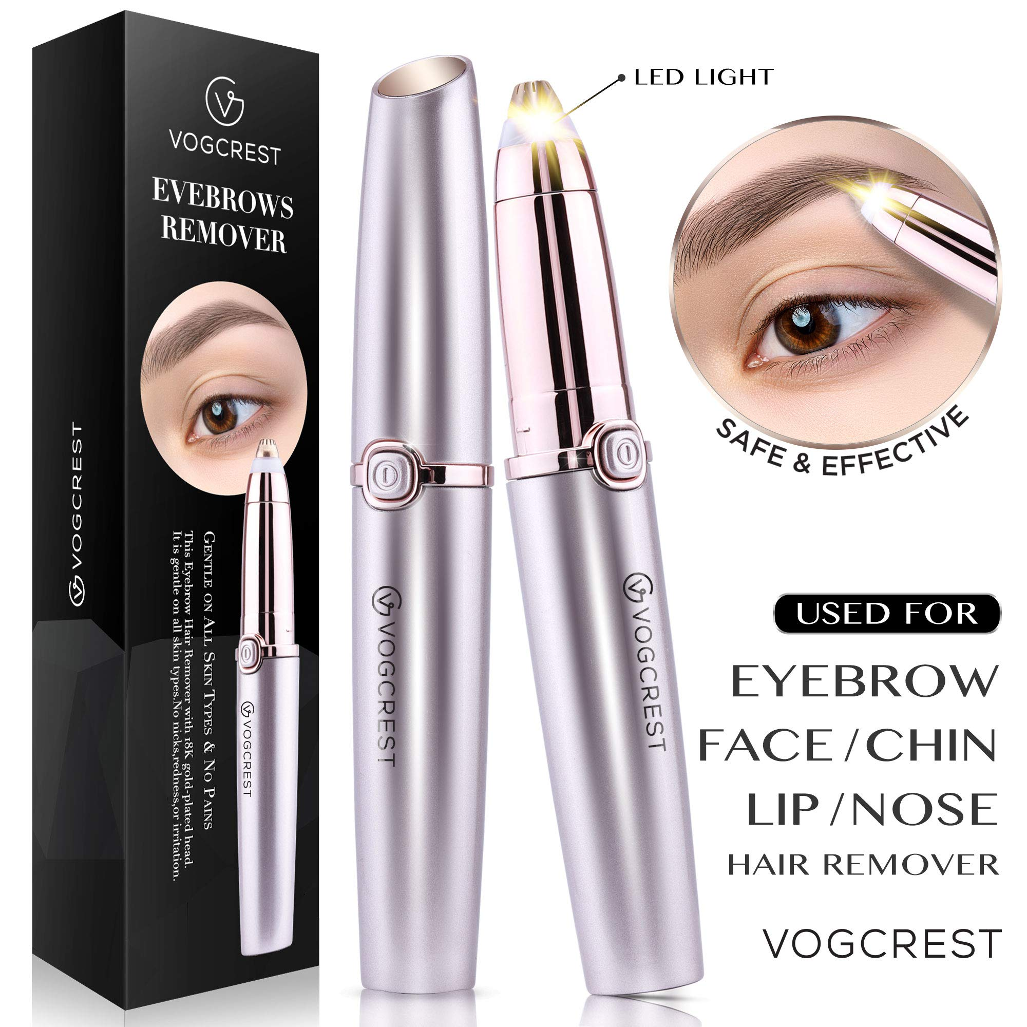 Eyebrow Hair Remover, Vogcrest Electric Painless Eyebrow Trimmer Epilator for Women, Portable Eyebrow Hair Removal Razor with Light - Rose Gold