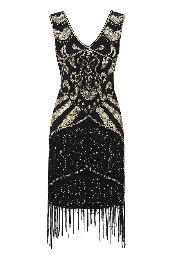 1920s Costumes: Flapper, Great Gatsby, Gangster Girl Metme 1920s Flapper Dress V Neck Vintage Beaded Fringed Dress Great Gatsby Dress $36.99 AT vintagedancer.com