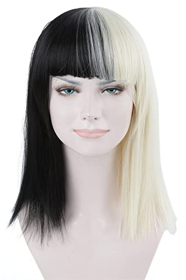 ATOZWIG Short Straight Cosplay Fashion Sia Wig Black Blonde Mix Heat Resistant Hair