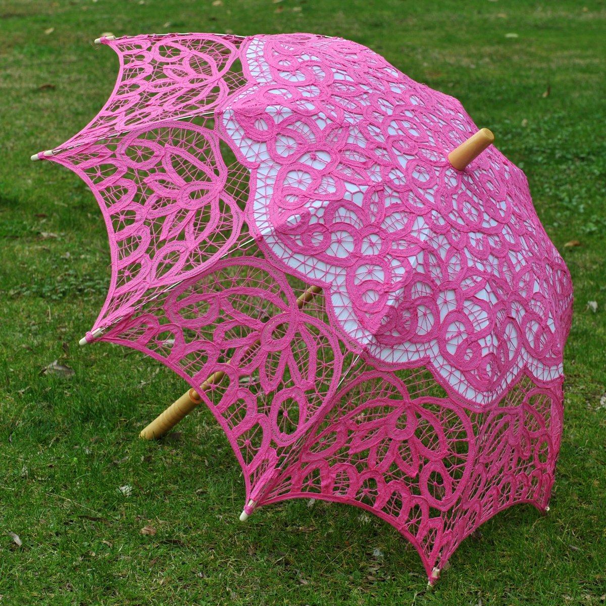 Topwedding Classic Cotton Lace Parasol Umbrella Bridal Shower Decoration, Fuschia by Topwedding (Image #6)