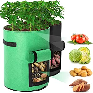 10 Gallon Potato Grow Bags with Flap and Handles ,Mefetop Strawberry Planting Bags Vegetable Growing Bags for Garden(2 Pack )