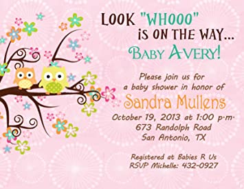 Personalized Baby Shower Bridal Shower Invitations Tree Owl Cards Custom  Printed!
