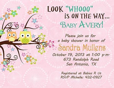 Amazon personalized baby shower bridal shower invitations tree personalized baby shower bridal shower invitations tree owl cards custom printed filmwisefo
