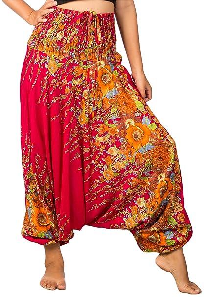 8a6cc307d933 Lofbaz Donna Smocked Waist Elefante Funky Pavone Harem Floreale Jumpsuit  Pantaloni: Amazon.it: Abbigliamento