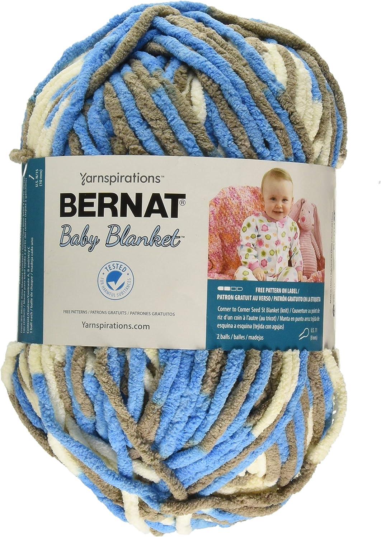 LITTLE ROYALES Bernat Baby Blanket Yarn 04133 ~ 10.5 oz Skein ~ 258 yds ~ Blanket Yarn ~ Blue~ Brown White