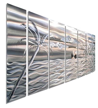 Large Silver Palm Tree Metal Wall Art, 68u0026quot; X 24u0026quot;, Tropical Wall
