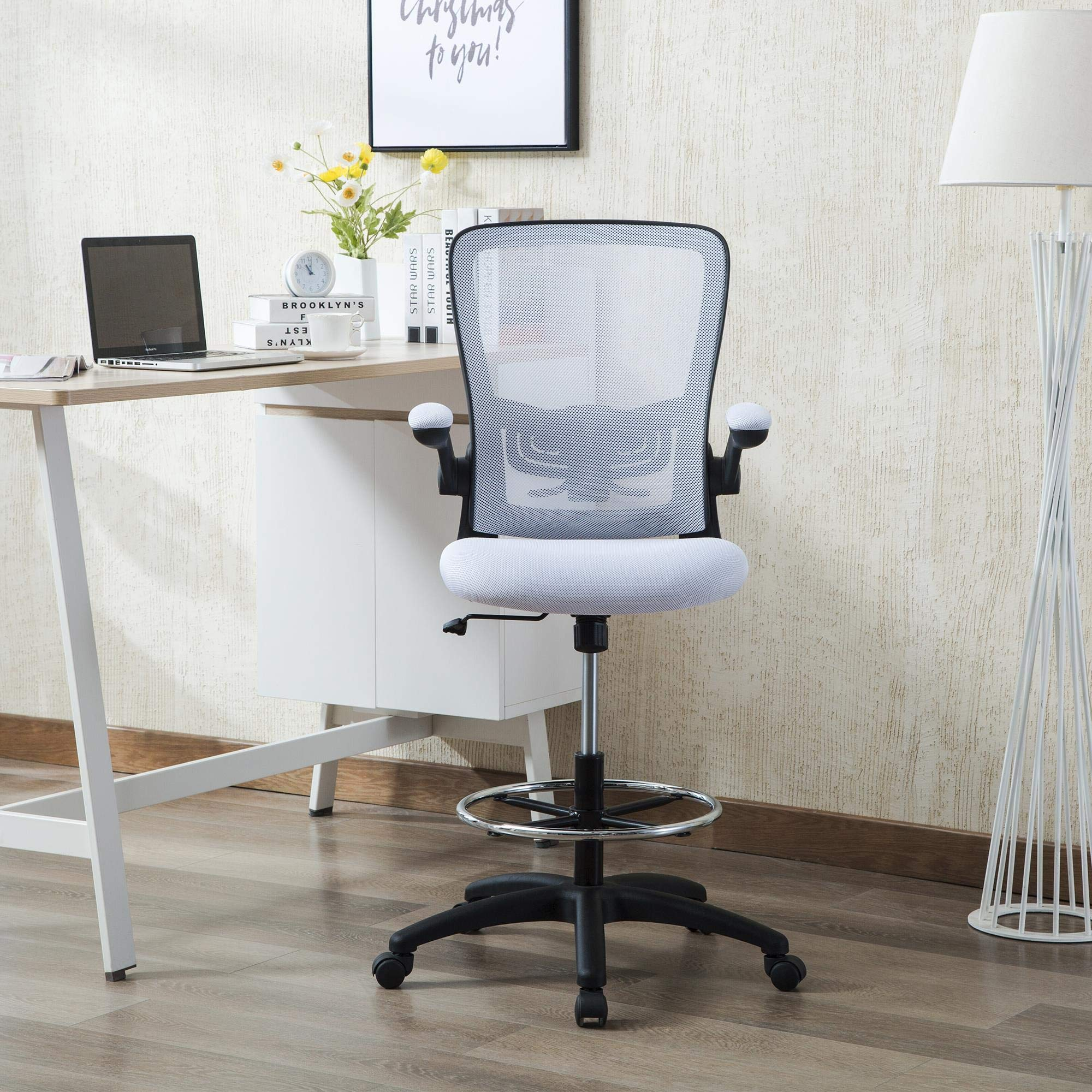 Naomi Home Serena Mid-Back Mesh Adjustable Drafting Chair White/Black by Naomi Home