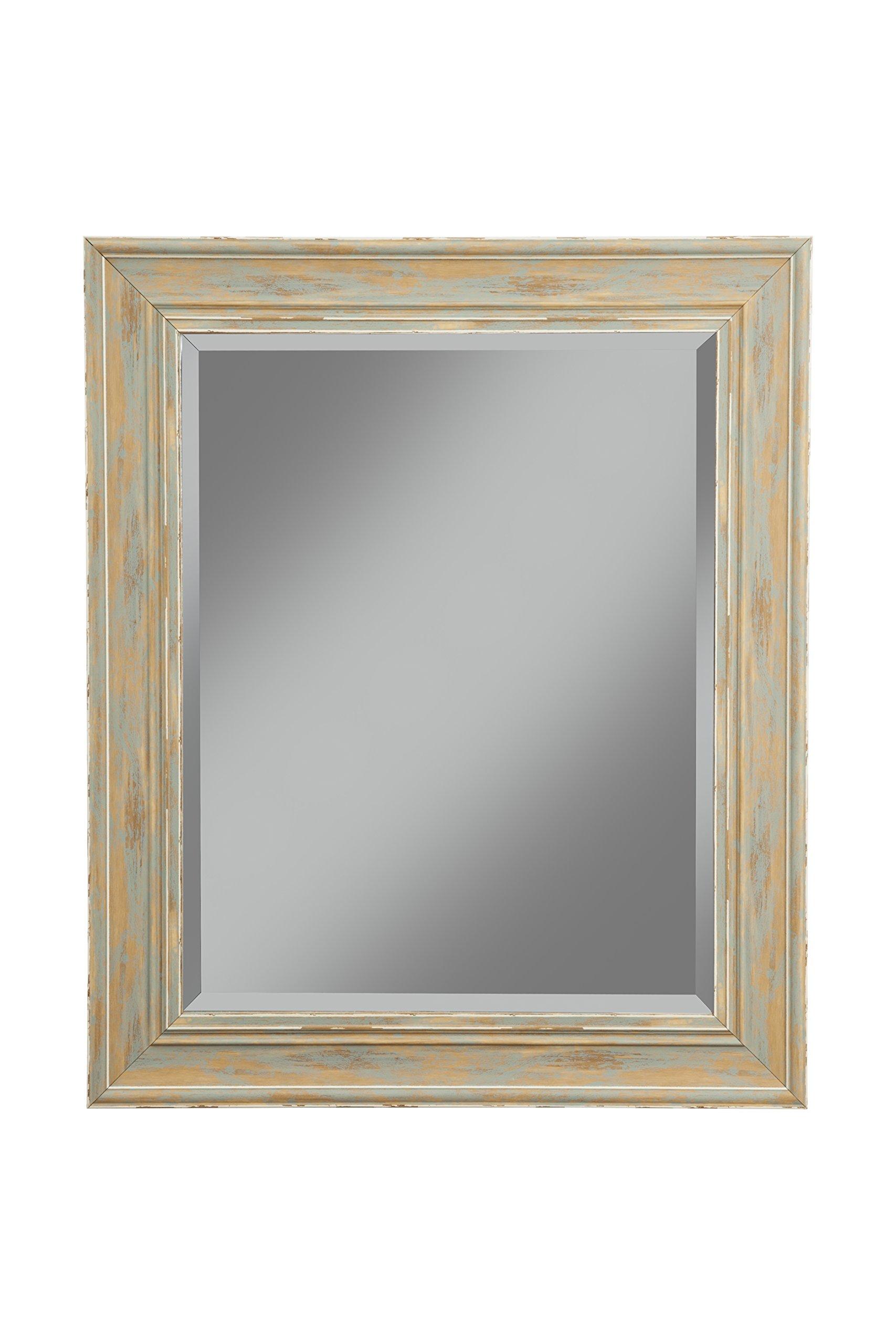 Sandberg Furniture Farmhouse Wall Mirror, Antique Turquoise, 36'' x 30''