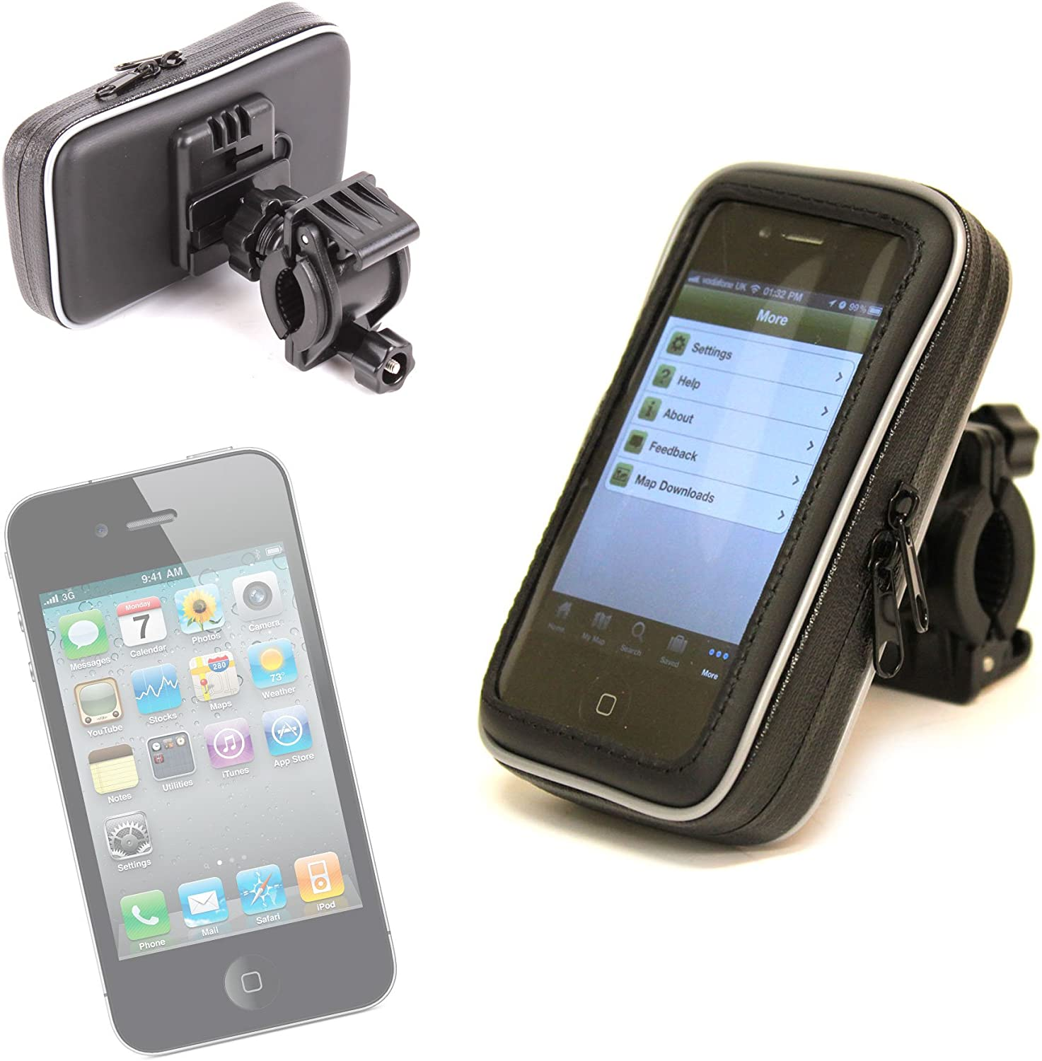 DURAGADGET Water Resistant Cycle/Bike Cell Phone Mount Hard Case for Apple iPhone 4, 4S (C Spire Wireless), 3GS & iPod Touch (4g, 8gb, 16gb, 32gb)