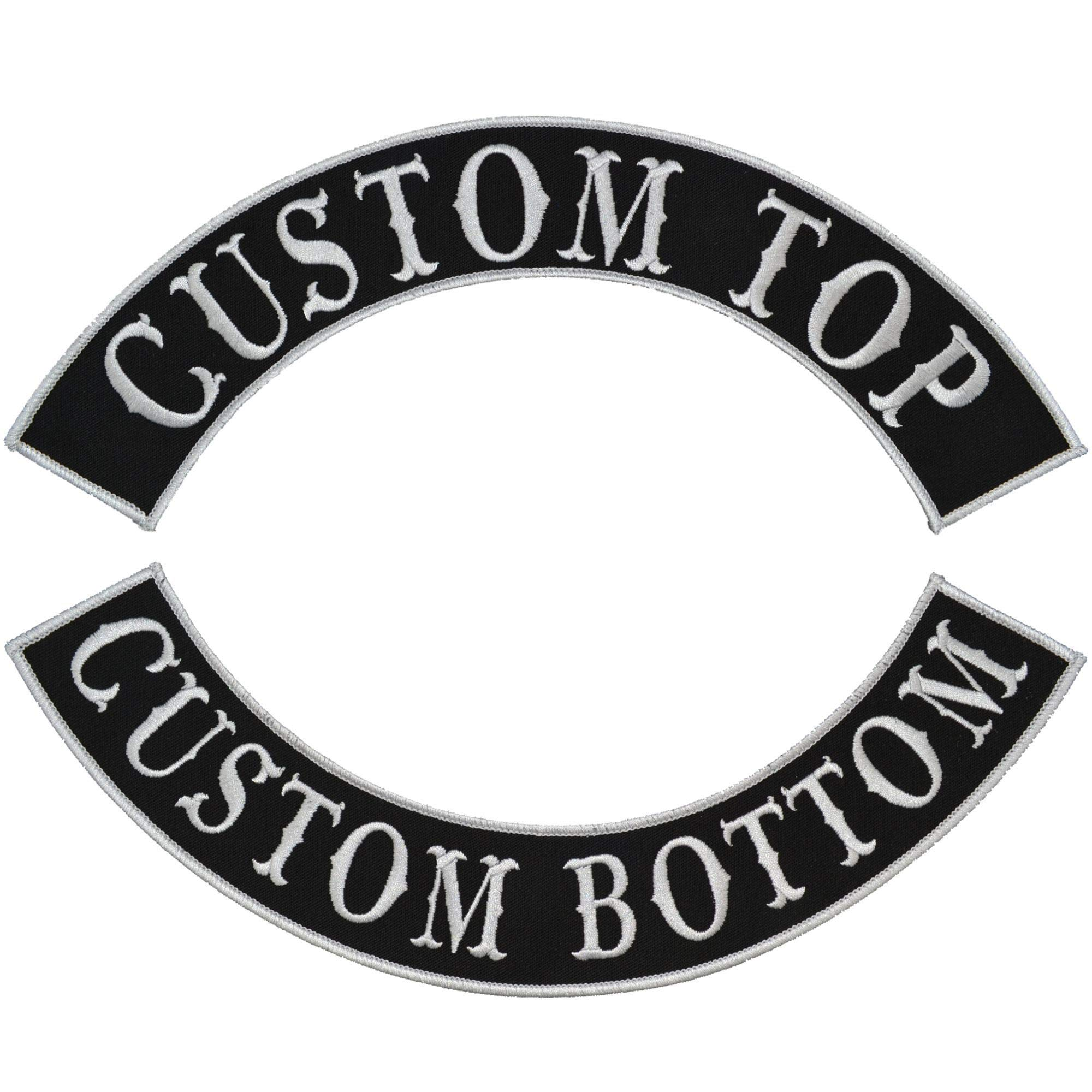Custom Biker Vest Patch - Top and Bottom Arch Style Tab and Rocker - Sew On by Tactical Gear Junkie