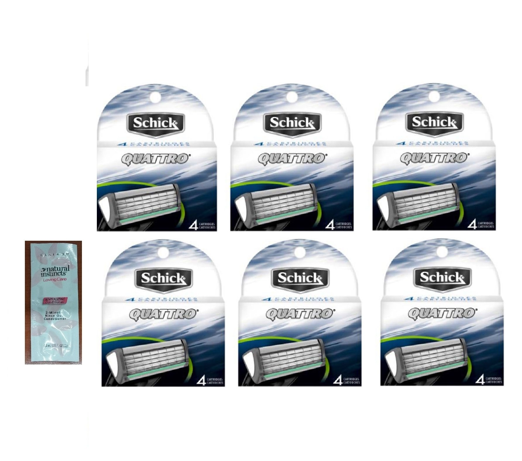 Schick Quattro Refill Razor Blade Cartridges, 4 Cartridges (Pack of 6) with FREE Loving Color trial size conditioner