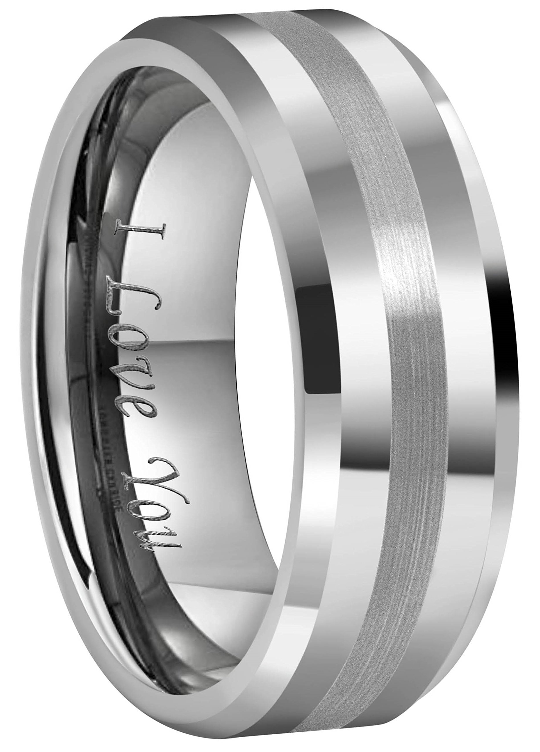 Crownal 6mm 8mm 10mm Tungsten Carbide Wedding Band Ring Engraved ''I Love You'' Men Women Brushed Strip Beveled Edge (8mm,12)