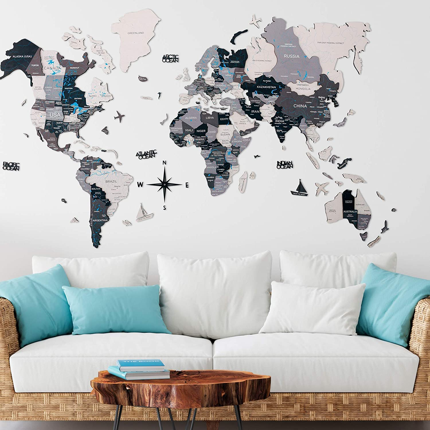 Home Decor 3D Wood World Map Wall Art. Large Wall Decor - World Travel Map All Sizes (M,L,XL,XXL). Any Occasion Gift Idea - Wall Art For Home & Kitchen or Office