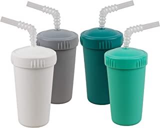 product image for Re-Play Made in USA 4pk- 10 oz. Straw Cups with Bendable Straw in White, Grey, Teal, Aqua | Made from Eco Friendly Heavyweight Recycled Milk Jugs - Virtually Indestructible (Modern Aqua+)