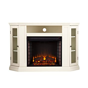 Amazon.com: Claremont Convertible Media Electric Fireplace - Ivory ...