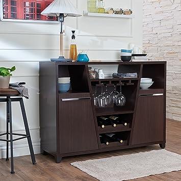 Sideboard Buffet, Modern Espresso Storage Dining Server With Wine Storage  And Stemware Racks