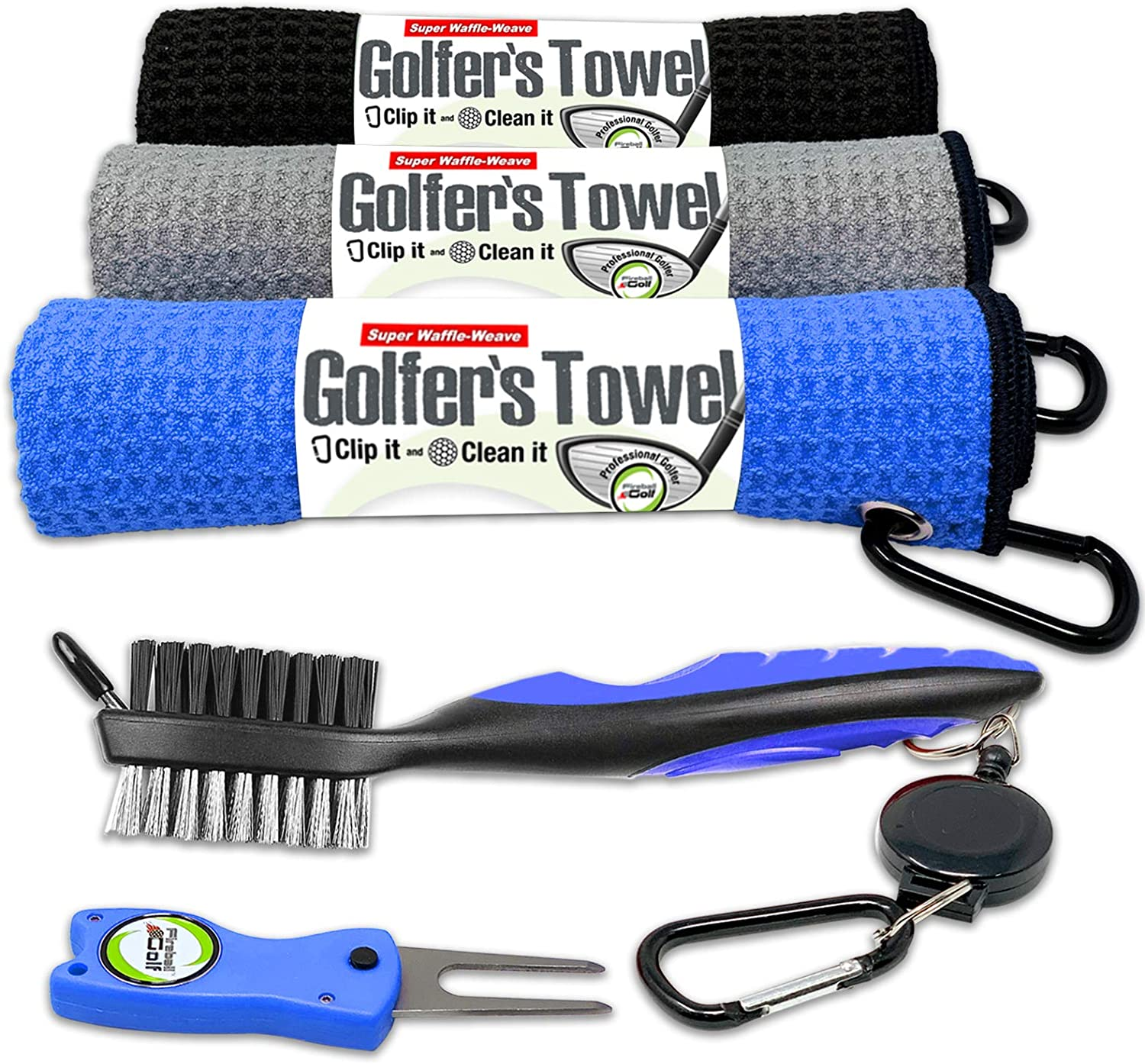 Fireball Golf Towel Gifts and Accessories Set (many colors) - 3 golf towels, golf divot tool, ball marker, and golf cleaning brush, golf gifts for men, women, children