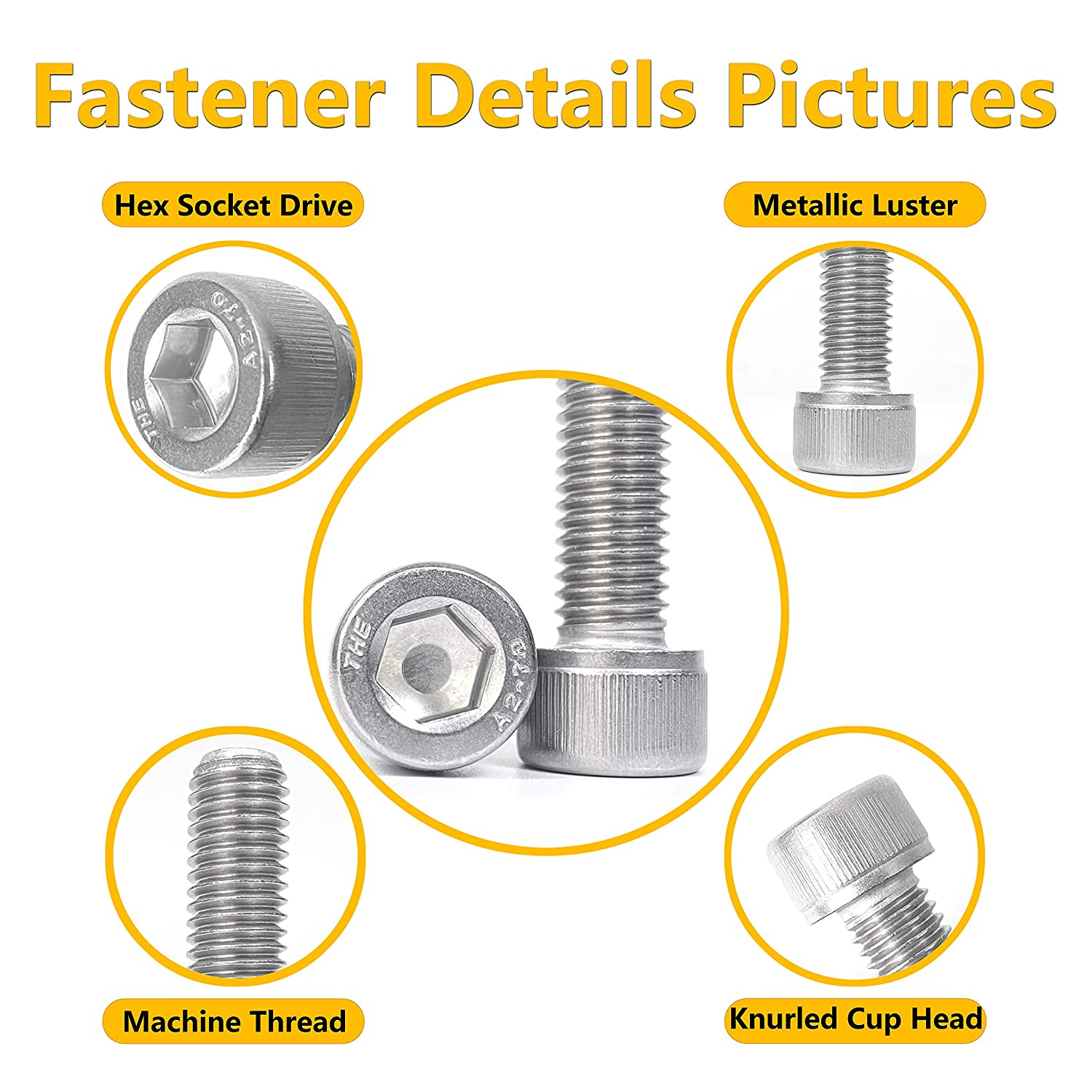 Fully Threaded with Allen Drive 100Pcs M4 x 6mm Socket Cap Head Screws Stainless Steel Machine Screw Metric Socket Bolt Hex Cap Head Bolts