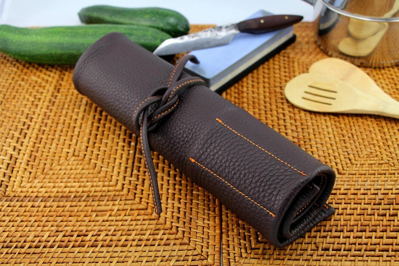 Compra Exclusivo Estuche para Cuchillos de Chef, de Cuero auténtico, para 7 Cuchillos, Equipamiento y Accesorios de Chef Braun - Orange Naht en Amazon.es