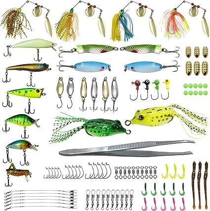 101pcs Useful Fall Fishing Lures Crankbaits Shads Trout Bass Lure Hooks W// Box