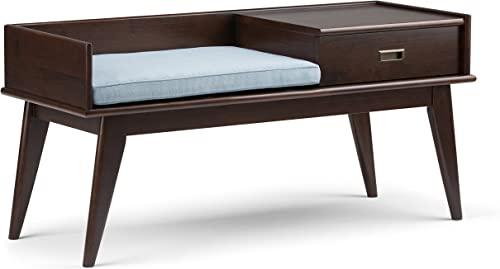 Simpli Home Draper SOLID WOOD 48 inch Wide Entryway Storage Bench with Comfortable Cushion and Drawer, Multifunctional, Mid Century Modern, in Medium Auburn Brown