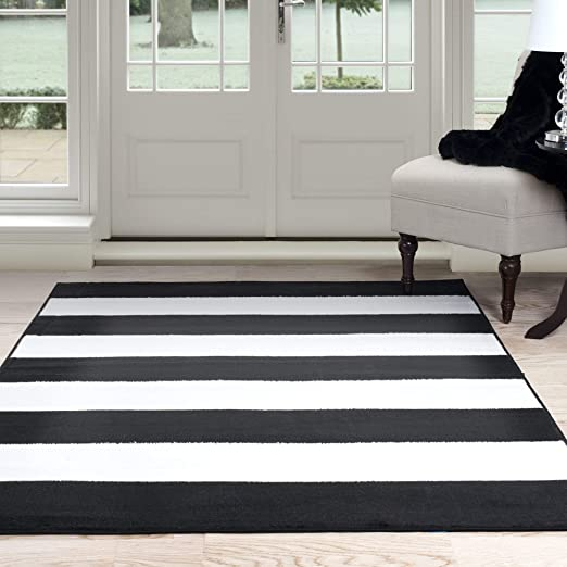 Lavish Home Breton Stripe Area Rug 5 By 7 7 Black White Amazon Co Uk Kitchen Home