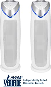 Germ Guardian True HEPA Filter Air Purifier for Home, Office, Bedrooms, Filters Allergies, Pollen, Smoke, Dust, Pet Dander, UVC Sanitizer Eliminates Germs, Mold, Odors, Quiet 22 inch 3-in-1 AC4825W2PK