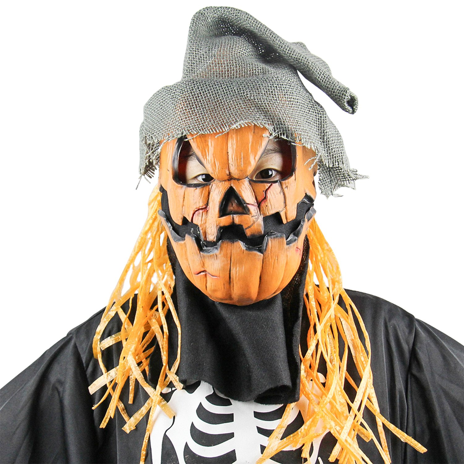 QTMY Latex Rubber Pumpkin Mask with Hat for Halloween Party Costume