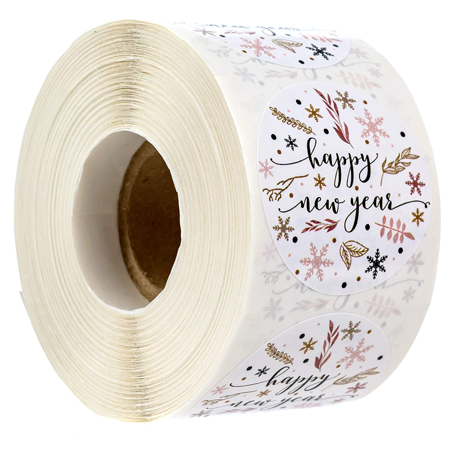 Floral Happy New Year Stickers/500 New Year Labels