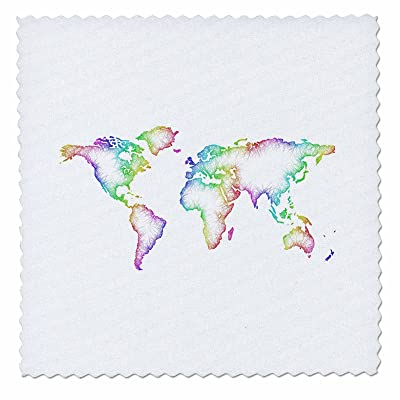 3drose David Zydd Map Designs Rainbow World Map 6x6 Inch Quilt
