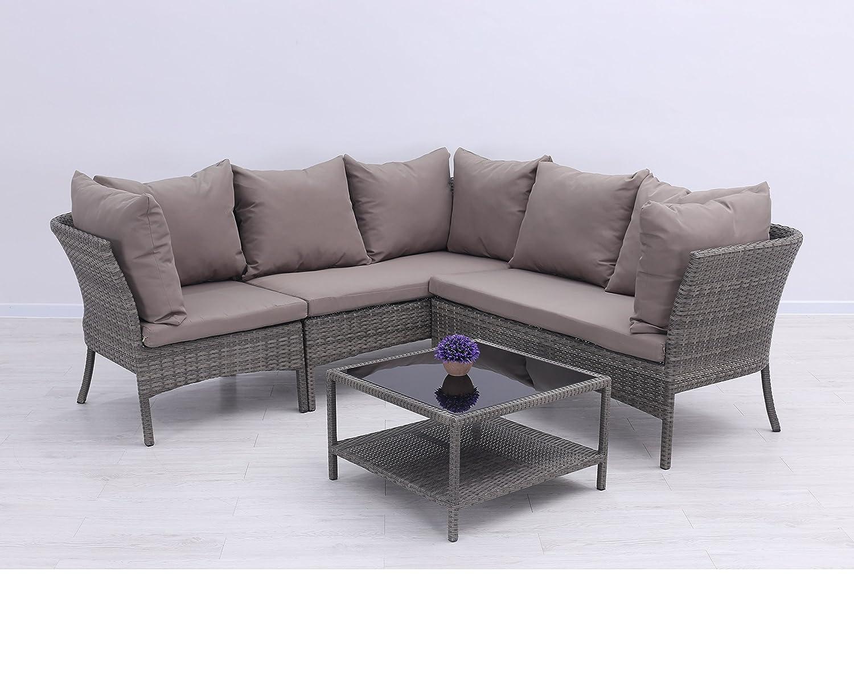 Hochwertige Poly Rattan Lounge Almonda, platzsparrend stapelbar aus dem Hause Pure Home & Garden