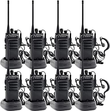 Winmoom Walkie Talkies Rechargeable Long Range Two-Way Radios Earpiece 8 Pack UHF 400-480Mhz 1800mAh Li-ion Battery Charger Included