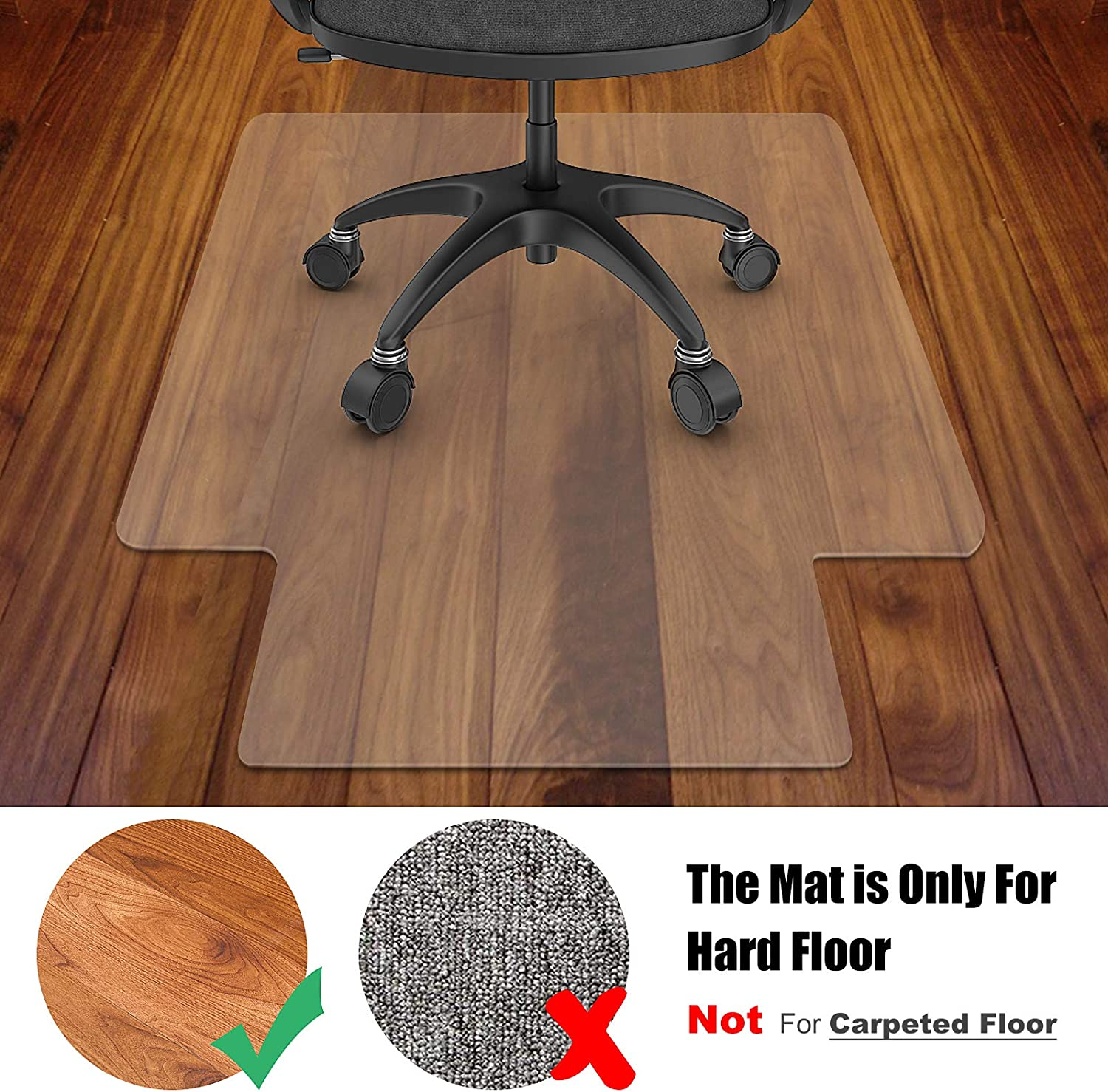 """Azadx Office Chair Mat for Hardwood Floor, Clear Hard Floor Chair Mat for Easy Glide and Protection Under Desk Chair (36"""" x 48"""" with Lip) : Office Products"""