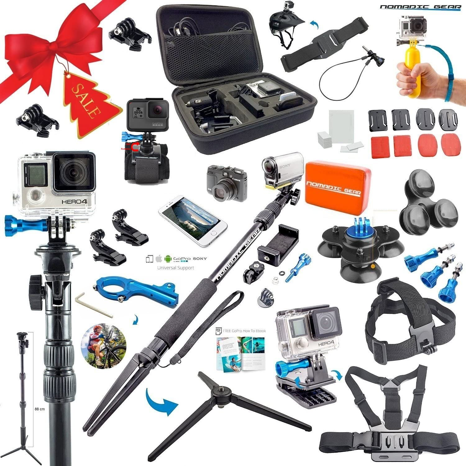 Compatible with The SJCAM SJ4000X Action Camera Navitech 8-in-1 Action Camera Accessories Combo Kit