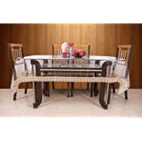 Unique Productions 6 Seater Transparent with Golden Lace Table Cover (60 X 90 Inches)