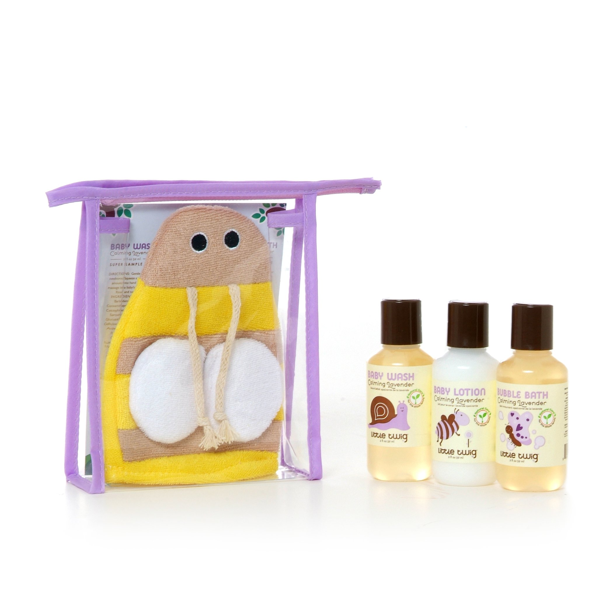 Little Twig All Natural Baby Travel Basics Bee Set with Baby Bubble Bath, Lotion, Body Wash, and Bath Mitt, Lavender